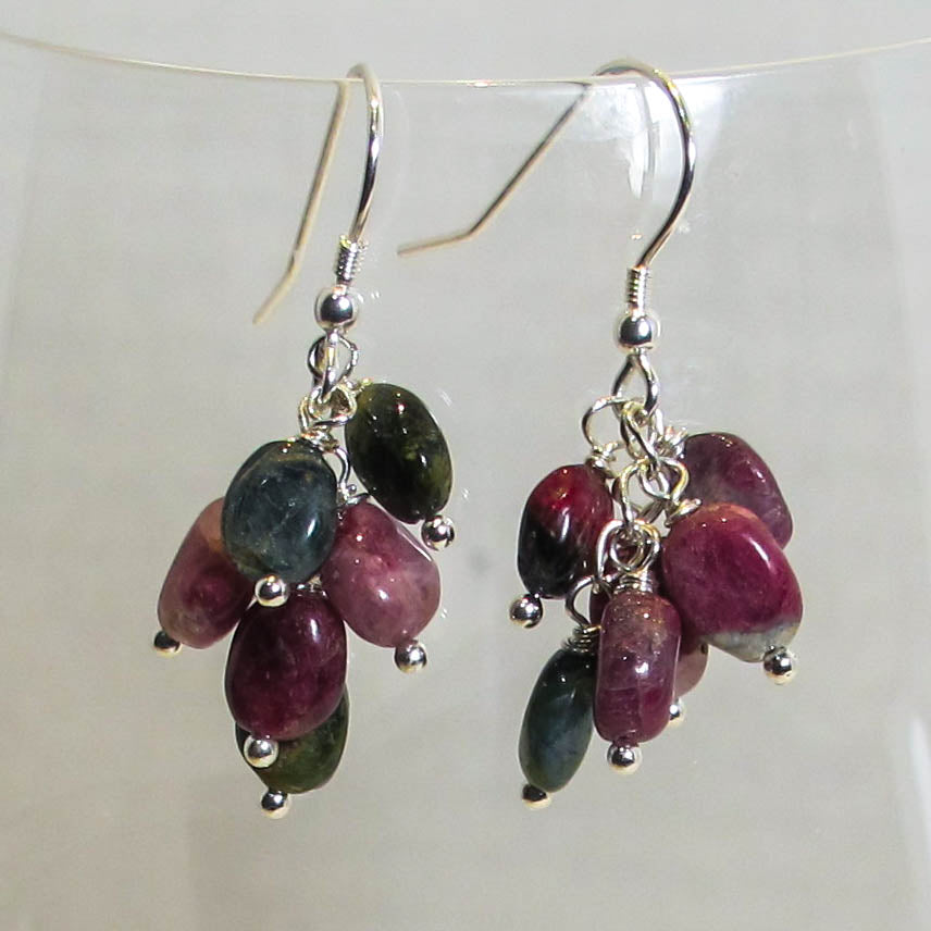 Gemstone Dangle Earrings/Multi Tourmaline