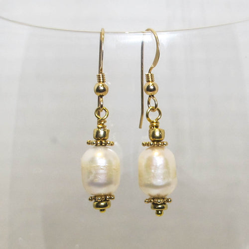 Round Pearl Earrings with Metal Accents