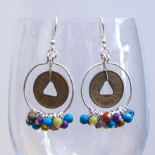 Load image into Gallery viewer, Hoop Earrings, Full, with Mixed Gemstone Dangles & Vintage Bus Tokens