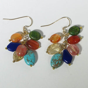 Gemstone Dangle Earrings/Mixed Gemstones