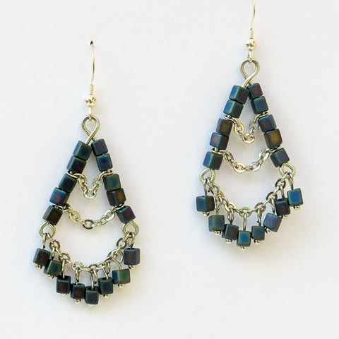 3-Tier Silver Chain & Iridescent, Black Cube Bead Earrings
