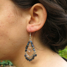 Load image into Gallery viewer, 3-Tier Silver Chain & Cube Bead Earrings