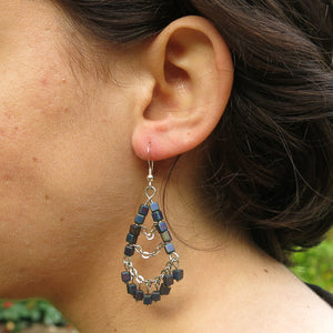 3-Tier Silver Chain & Cube Bead Earrings