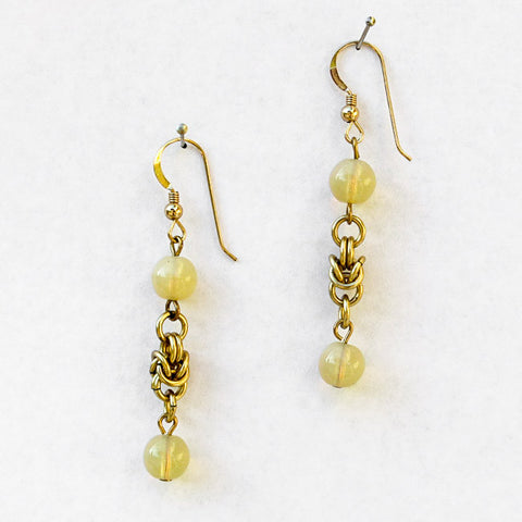Gold Byzantine Chain Maille Earrings with Golden Semi-Precious Stone Beads