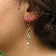 Load image into Gallery viewer, Silver-Plated Byzantine Weave and Freshwater Pearl Earrings