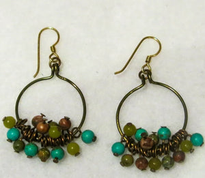 Hoop Earrings, Full, with Mixed Gemstone Dangles