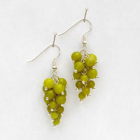 Luscious, semi-precious stone grape clusters.  Sterling silver or 14-kt. gold-filled earring wires.