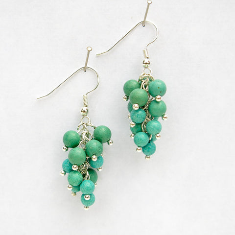 Turquoise Magnesite Grape Cluster Earrings
