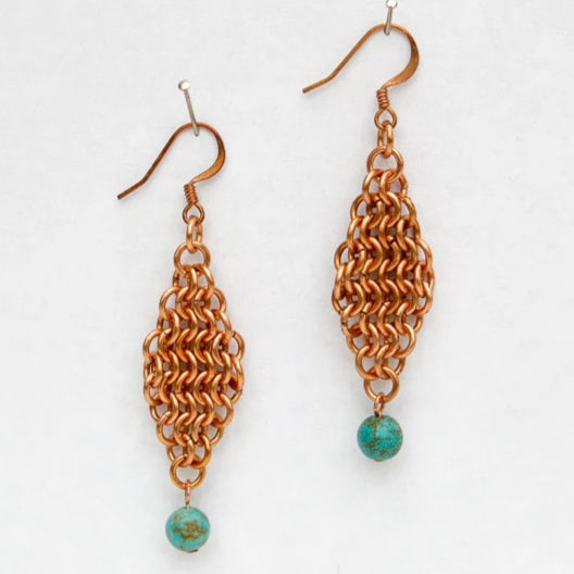 Large Diamond Chain Maille Earrings with Gemstone Bead Dangles