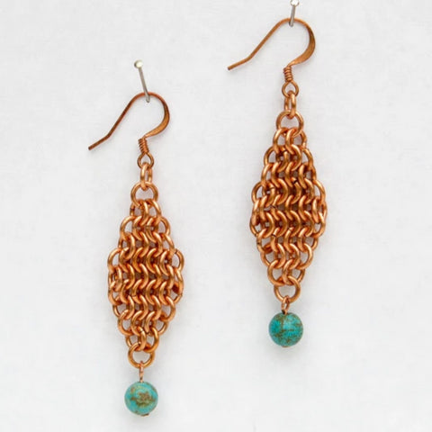 Copper European 4-in-1 Chain Maille Earrings with Turquoise Magnesite Bead Dangles