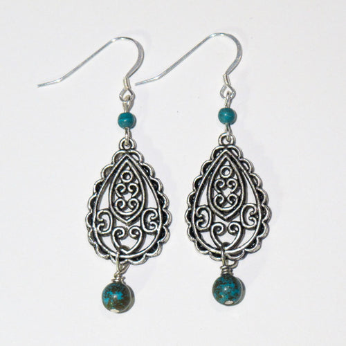 Pewter Filigree Earrings with Turquoise Magnesite Beads and Sterling Silver Earring Wires