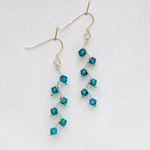 Turquoise Swarovski Crystal Cascading Vine Earrings