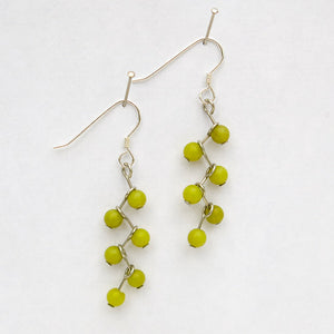 Olive New Jade Semi-Precious Stone, Cascading Vine Earrings