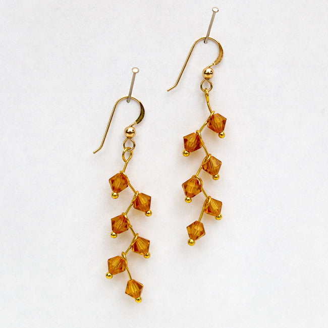Topaz Swarovski Crystal Cascading Vine Earrings