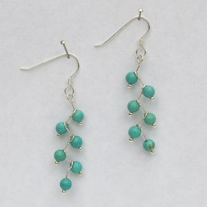 Turquoise Magnesite Semi-Precious Stone Beads, Cascading Vine Earrings