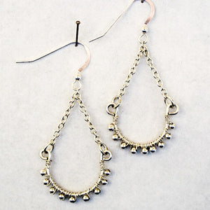 Hoop Earrings, Half, with Chain and Tiny Metal Beads