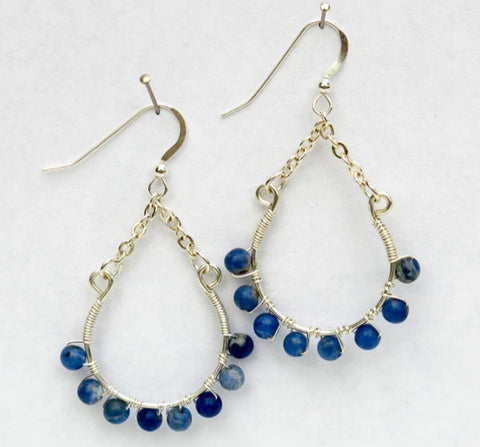 Hoop Earrings, 3/4, with Chain, Wrapped with Gemstone Beads