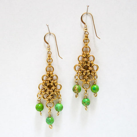 Gold-Plated Diamond Chain Maille Earrings with Apple Green Magnesite Bead Dangles