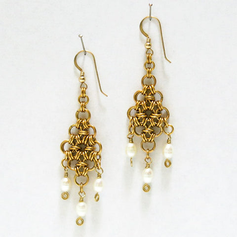 Diamond Chain Maille Earrings with White Freshwater Pearl Dangles