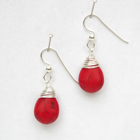 Red Magnesite Teardrop Earrings with Wire-Wrapped Tops