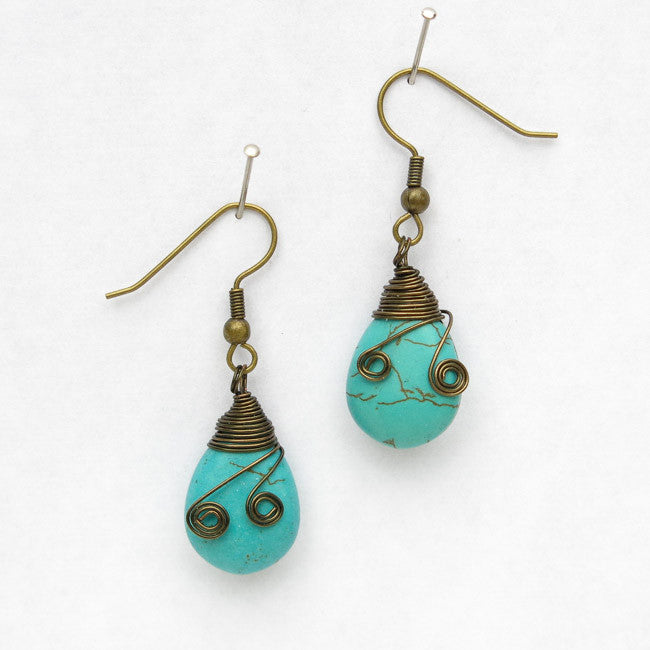 Magnesite Teardrop Earrings with Wire-Wrapped Tops & Tiny Spirals..