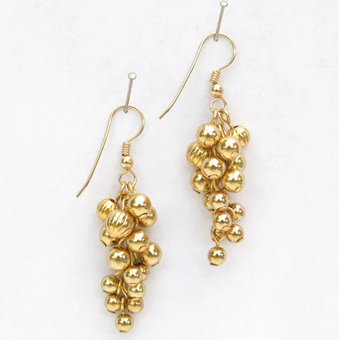 Gold-Plated Grape Cluster Earrings with 14-Kt. Gold-Filled Earring Wires