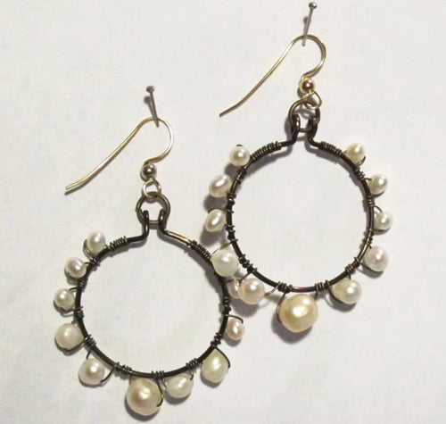 Hoop Earrings, Full, Wrapped with Graduated-Size, White Pearls