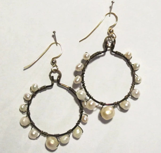 Hoop Earrings, Full, Wrapped with White Pearls