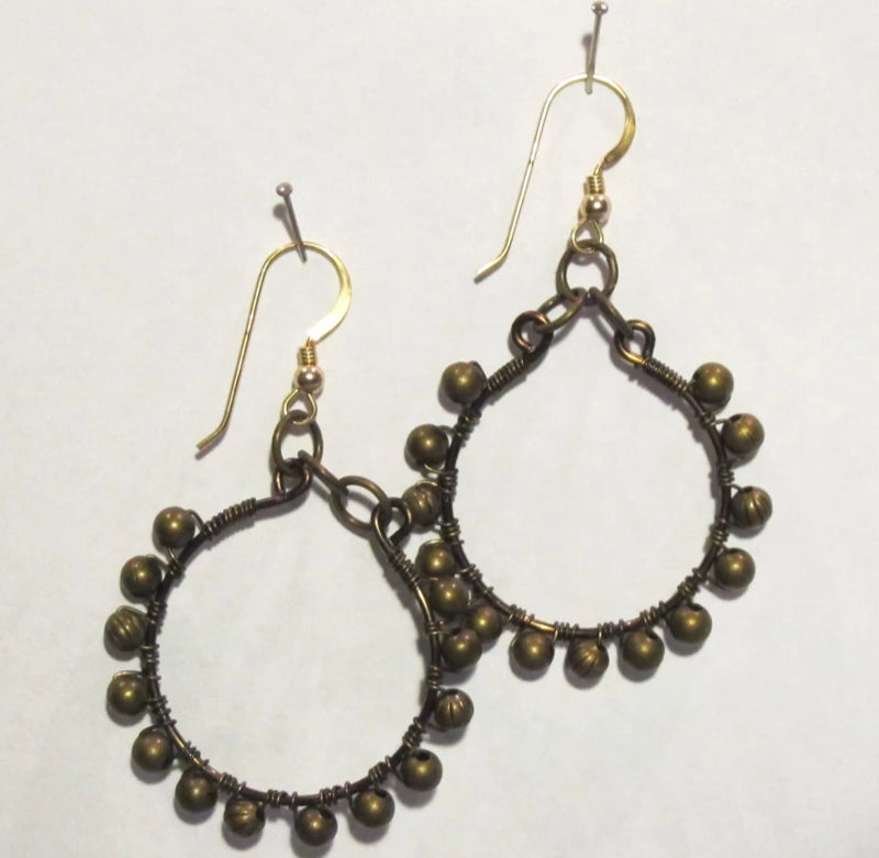 Hoop Earrings, Full, Wrapped with Matching Metal Beads