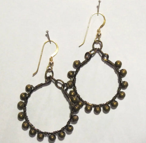 Hoop Earrings, Full, Wrapped with Gemstone Beads, Antique Brass Wire