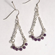 Load image into Gallery viewer, Hoop Earrings, Half, with Chain and Gemstones, Silver Wire