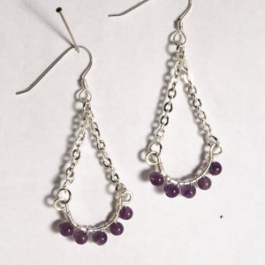 Hoop Earrings, Half, with Chain and Gemstones, Silver Wire