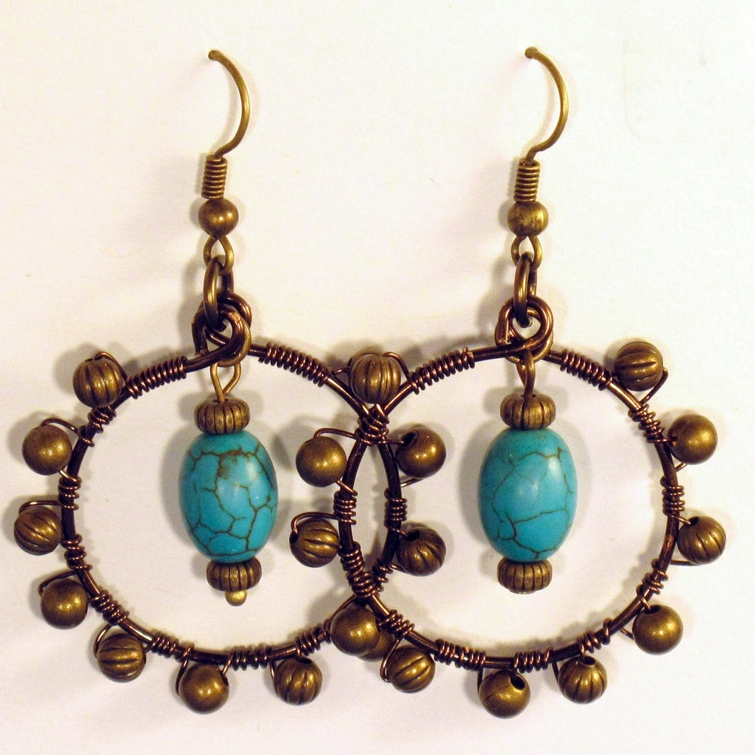 Hoop Earrings, Full, Wrapped with Matching Metal Beads, Turquoise Magnesite Gemstone Center Dangle