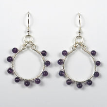 Load image into Gallery viewer, Hoop Earrings, Full, Wrapped with Gemstone Beads, Silver Wire