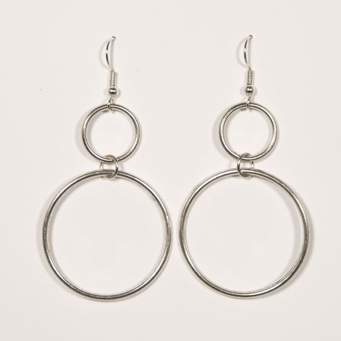 Silvertone Double Hoop Earrings