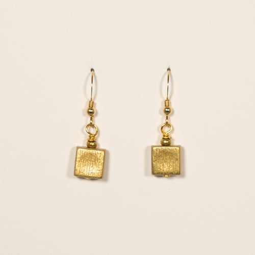 Goldtone Pewter Squares Earrings