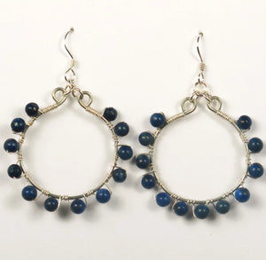 Hoop Earrings, Full, Wrapped with Gemstone Beads, Silver Wire
