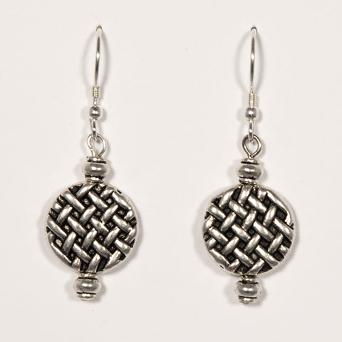 Pewter Basket Weave Disc Earrings