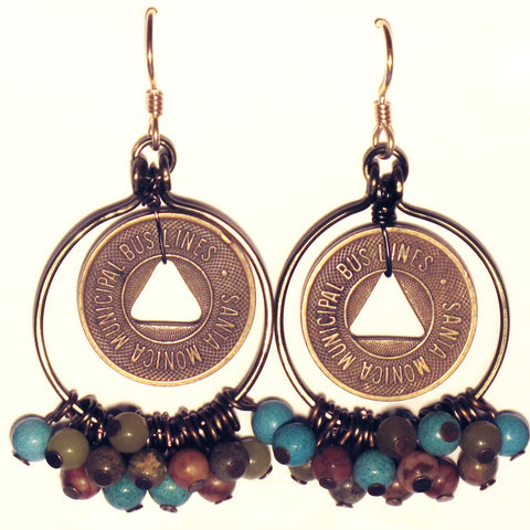 Hoop Earrings, Full, with Mixed Gemstone Dangles & Vintage Bus Tokens