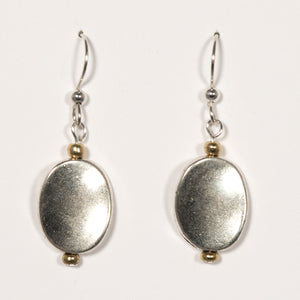 Wavy Oval Discs Earrings, Pewter w/Brass Accents