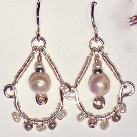Hoop Earrings, Half, with Wrapped Wire & White Pearls, Center Large Pearl Dangle