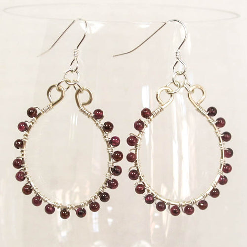 Oval Hoop Earrings with Tiny Gemstone Beads