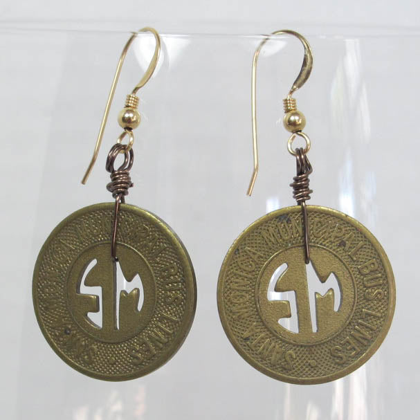 Vintage Santa Monica Bus Token Earrings