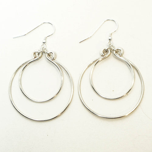 Double Hoop Earrings, Hand-shaped (click for colors)
