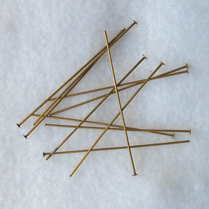 Antique Brass Head Pins with Flat Heads