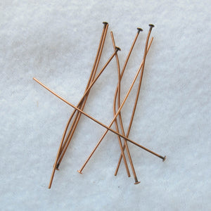 Antique Copper Head Pins with Flat Heads