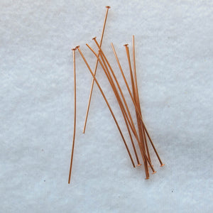 Shiny Copper Head Pins with Flat Heads