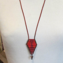 Load image into Gallery viewer, Beaded Necklace on Leather Cord