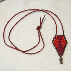 Beaded Necklace on Leather Cord
