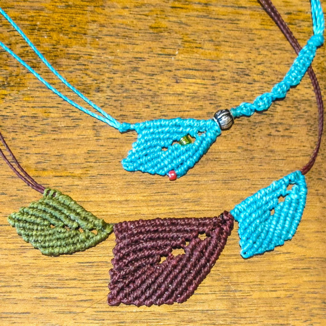 Macrame Leaf Necklace Class: Zoom Recording & Illustrated, Printable Instructions